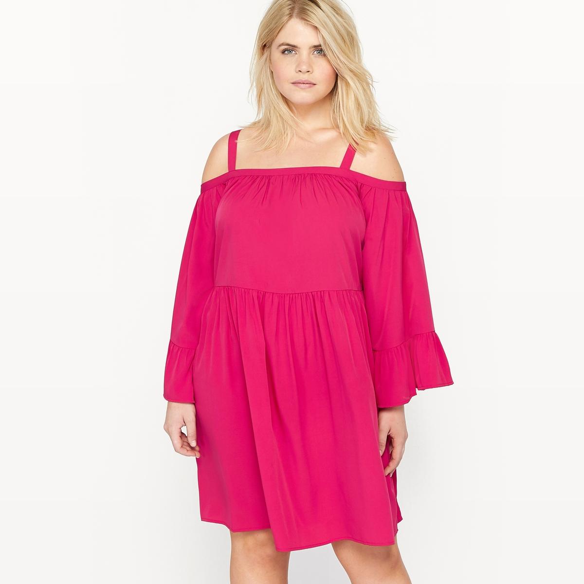 Платье с квадратным вырезом и рукавами 3/4 с воланами