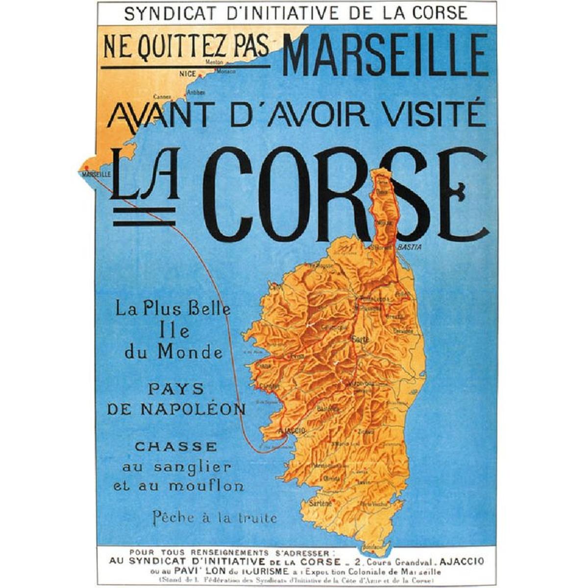 Affiche ancienne Ajaccio Corse