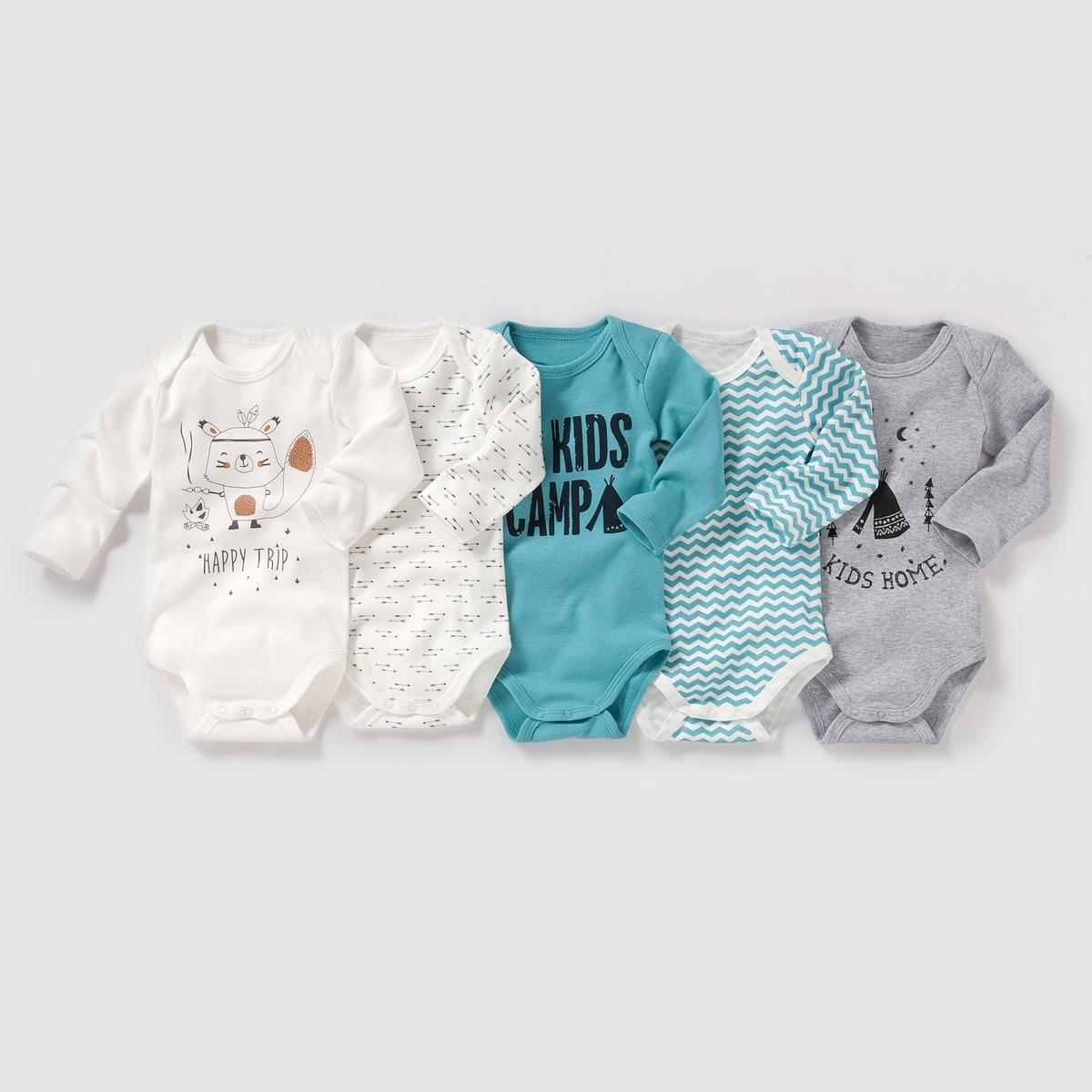 Комплект из 5 боди с длинными рукавами на возраст от 0 месяцев до 3 лет.