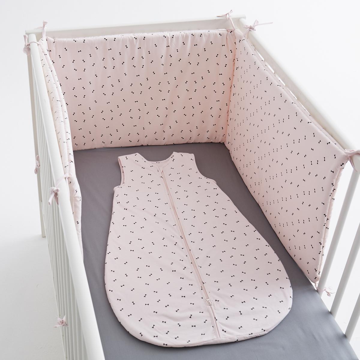 Защитная панель для детской кроватки бантики, из перкали