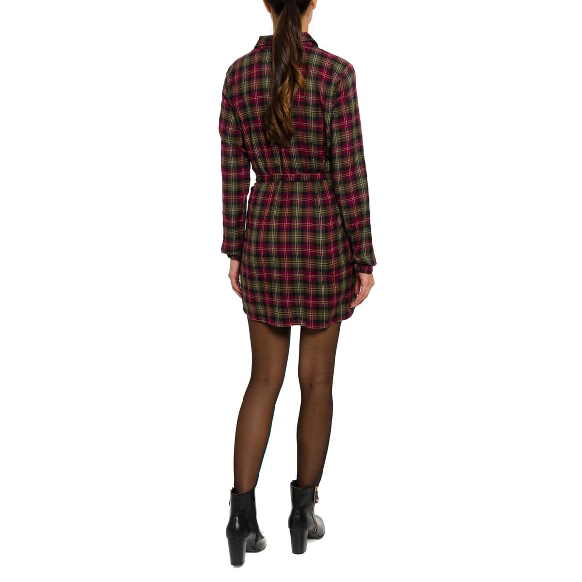 Платье-рубашка с рисункомПлатье-рубашка PARAMITA. Рисунок в клетку в шотландском стиле. Пояс на завязках. Длинные рукава.           Состав и описание:Материал: 100% хлопок.Марка: PARAMITA.<br><br>Цвет: в клетку зеленый/красный