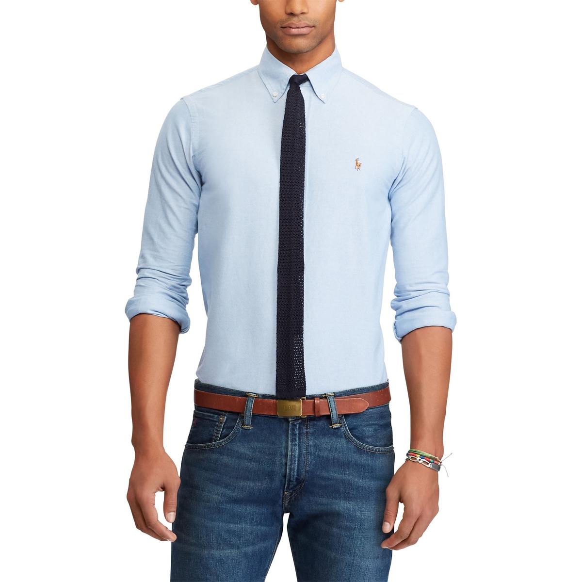 Рубашка La Redoute Прямая стрейч S синий рубашка la redoute джинсовая узкая jjesheridan s синий