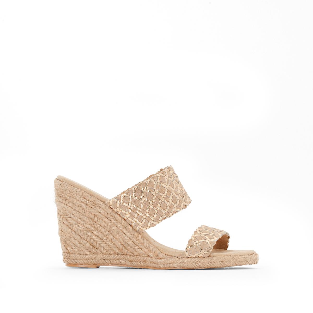 Туфли без задника из невыделанной кожи на веревочной танкеткеОригинальные туфли без задника Anne Weyburn. Танкетка из веревки.Верх : невыделанная кожа.Подкладка : кожа.Стелька : Кожа на подкладке из пеноматериала.Подошва : эластомер.Высота каблука : 8 см.<br><br>Цвет: бежевый<br>Размер: 41