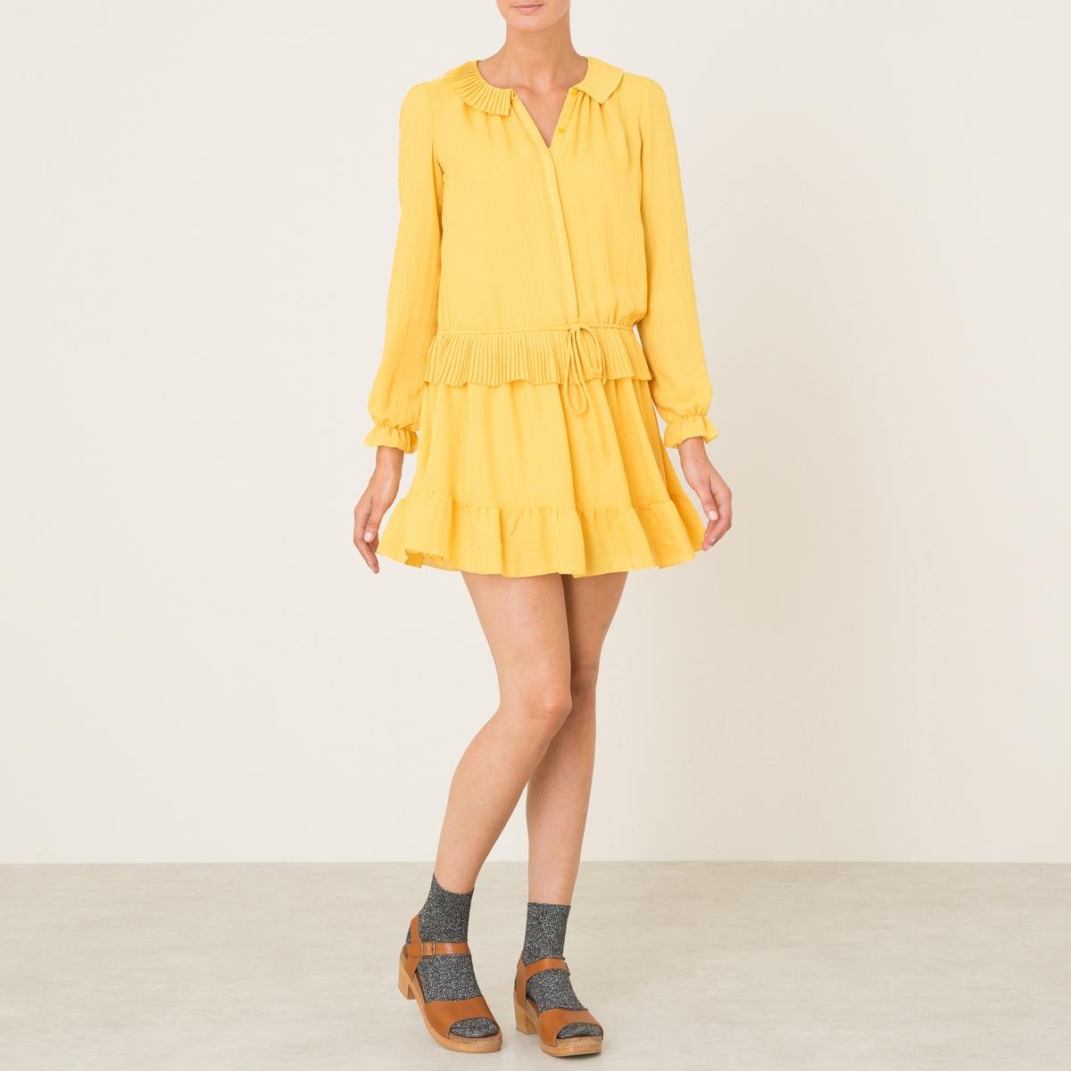 Платье FLORINEСостав и описание :Материал : 100% полиэстерМарка : ATHE VANESSA BRUNO<br><br>Цвет: охра