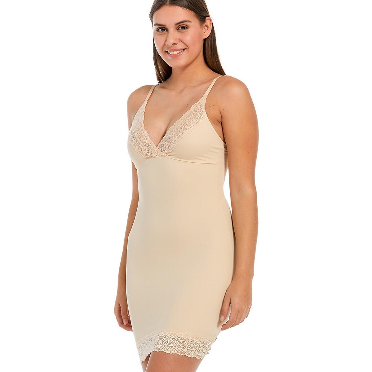 Платье LaRedoute Облегающее с V-образным вырезом из кружева Be Pretty XXL бежевый