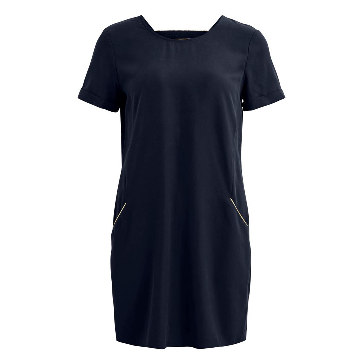Платье La Redoute С короткими рукавами и открытой спиной 36 (FR) - 42 (RUS) синий бушлат la redoute с рисунком клетка 34 fr 40 rus синий