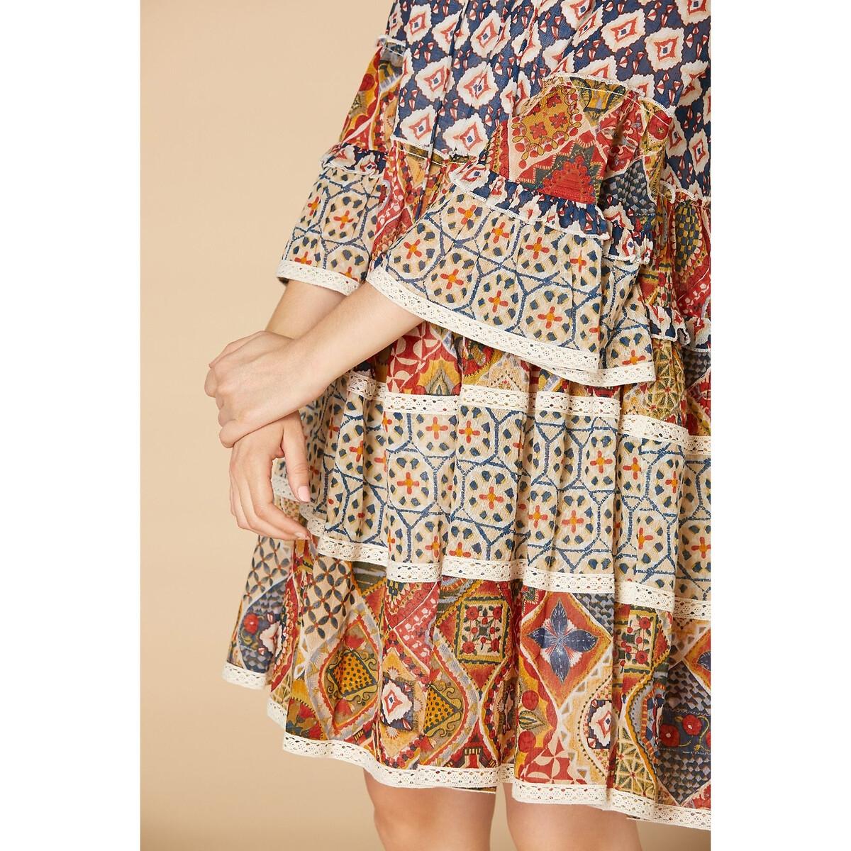 Платье La Redoute Короткое прямое с рисунком круглым вырезом и завязками M бежевый