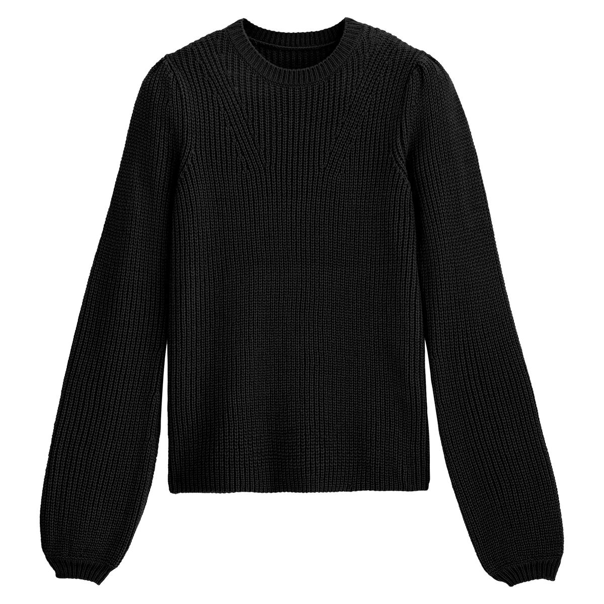 Jersey con cuello redondo y mangas abullonadas
