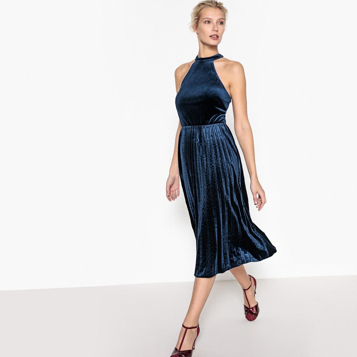 Welurowa sukienka rozkloszowana, dół plisowany