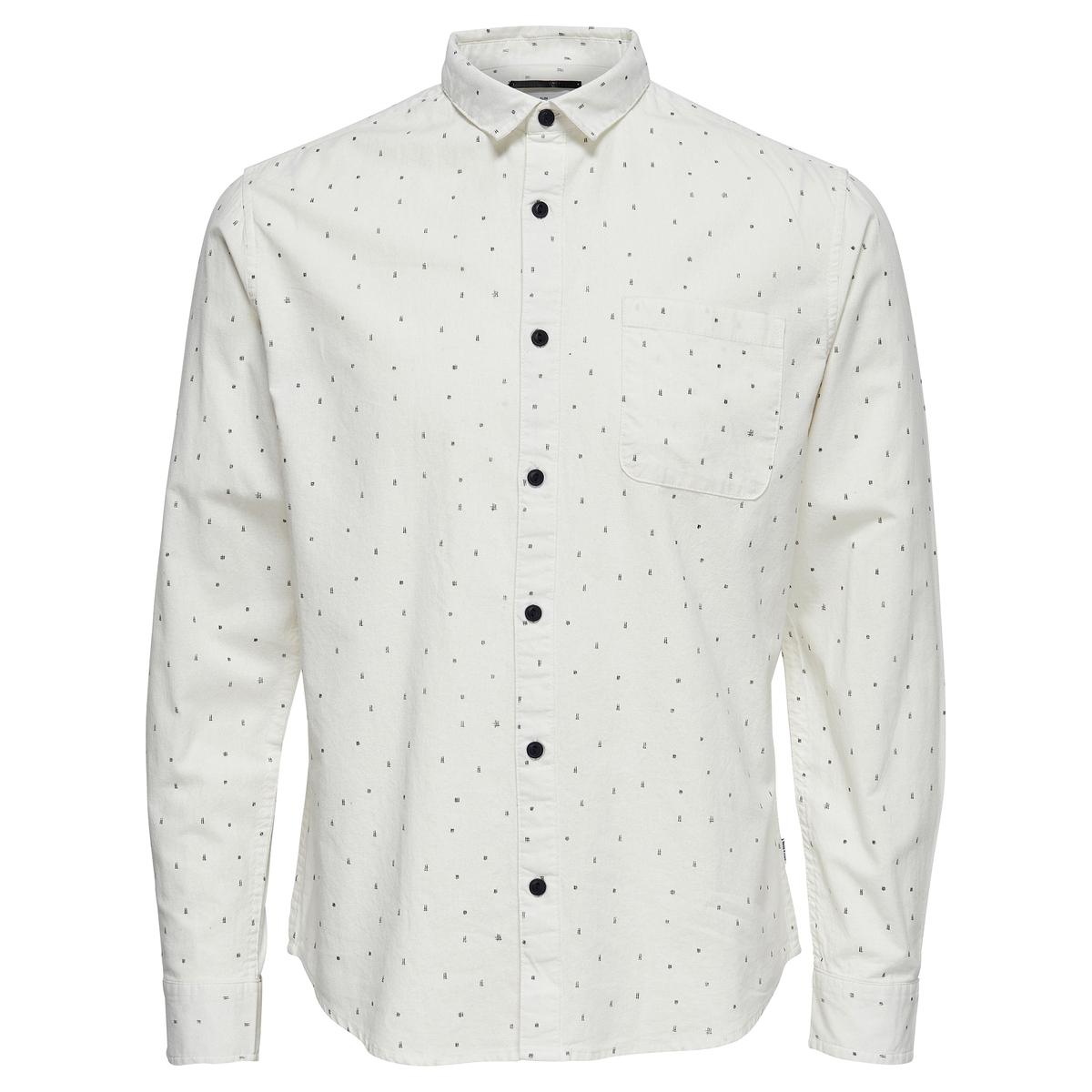 Рубашка приталеннаяДетали  •  Длинные рукава  •  Приталенный покрой •  Классический воротник •  Жаккардовый рисунок Состав и уход  •  100% хлопок  •  Следуйте советам по уходу, указанным на этикетке<br><br>Цвет: белый,синий морской<br>Размер: XL