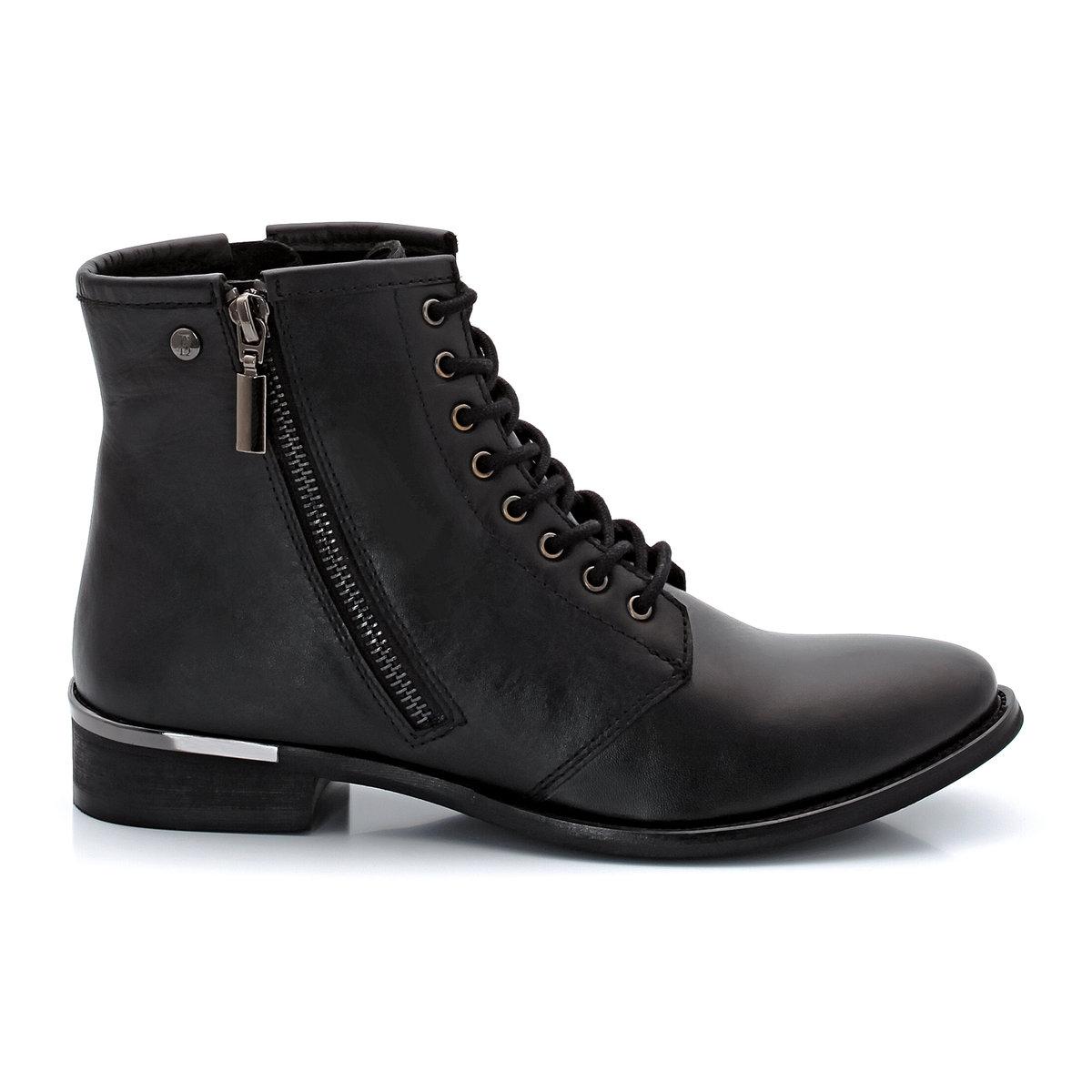 Ботинки кожаныеMuratКожаные ботинки с застежкой на молнию и шнуровкой, модель Murat от ELLE. Верх: кожа (коровья). Подкладка: текстиль. Стелька: кожа. Подошва: синтетический материал. Застежка: на молнию и шнуровка.                                   Высота каблука: 3 см. Высота верха: 5,5 см. Неоспоримые плюсы: вы моментально влюбитесь в их уникальный и оригинальный стиль от ELLE. Модель смешанного стиля с застежкой на молнию и металлическими вставками на пятке<br><br>Цвет: черный<br>Размер: 38