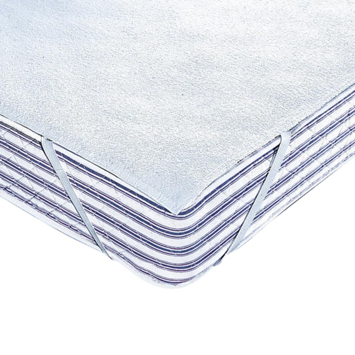 Чехол защитный для матраса махровой ткани 250 г/м? с непромокаемым полиуретановым покрытиемОчень мягкий и удобный защитный чехол для матраса отводит влагу от тела, сохраняя полную непромокаемость. Более мягкий и удобный, чем ПВХ.Защитный чехол из махровой ткани с завитым ворсом 250 г/м? с покрытием из полиуретана: непромоакемый, микро-дышащий, регулирует потовыделение, антибактериальная обработка.Биоцидная обработка 4 угла на резинках.Стирка при температуре до 60°.100% экологически чистый материал.Качество VALEUR S?RE.<br><br>Цвет: белый