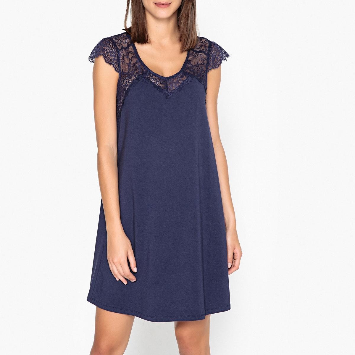 Nachthemd aus Spitze | Bekleidung > Nachtwäsche > Nachthemden | Blau | Elasthan | La Redoute Collections