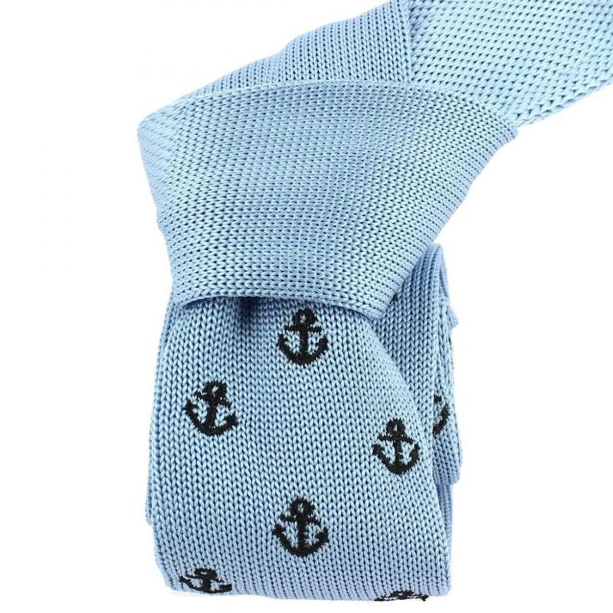 Cravate tricot  ancre bleu