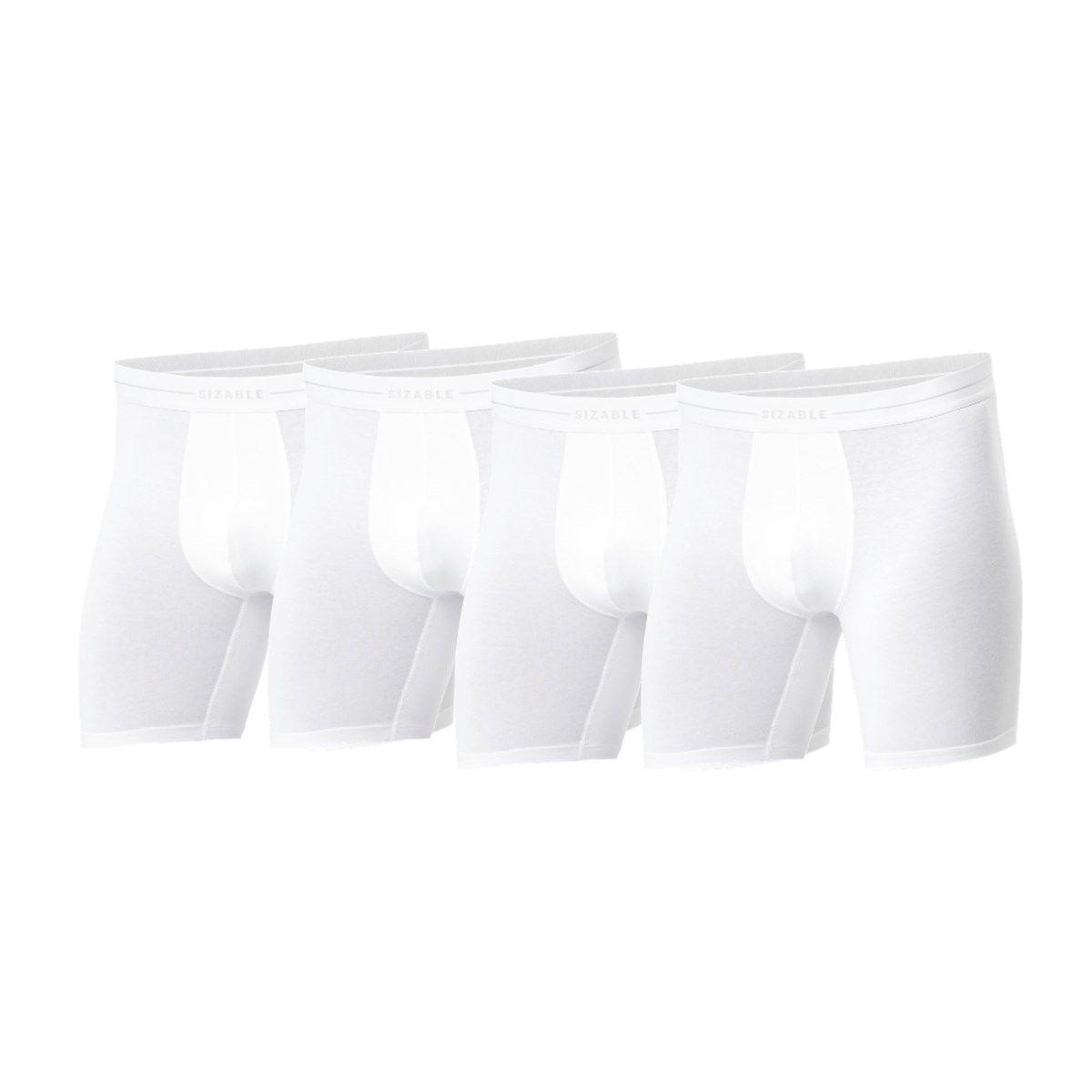 Lot de 4 boxers longs en coton bio à ceinture élastiquée