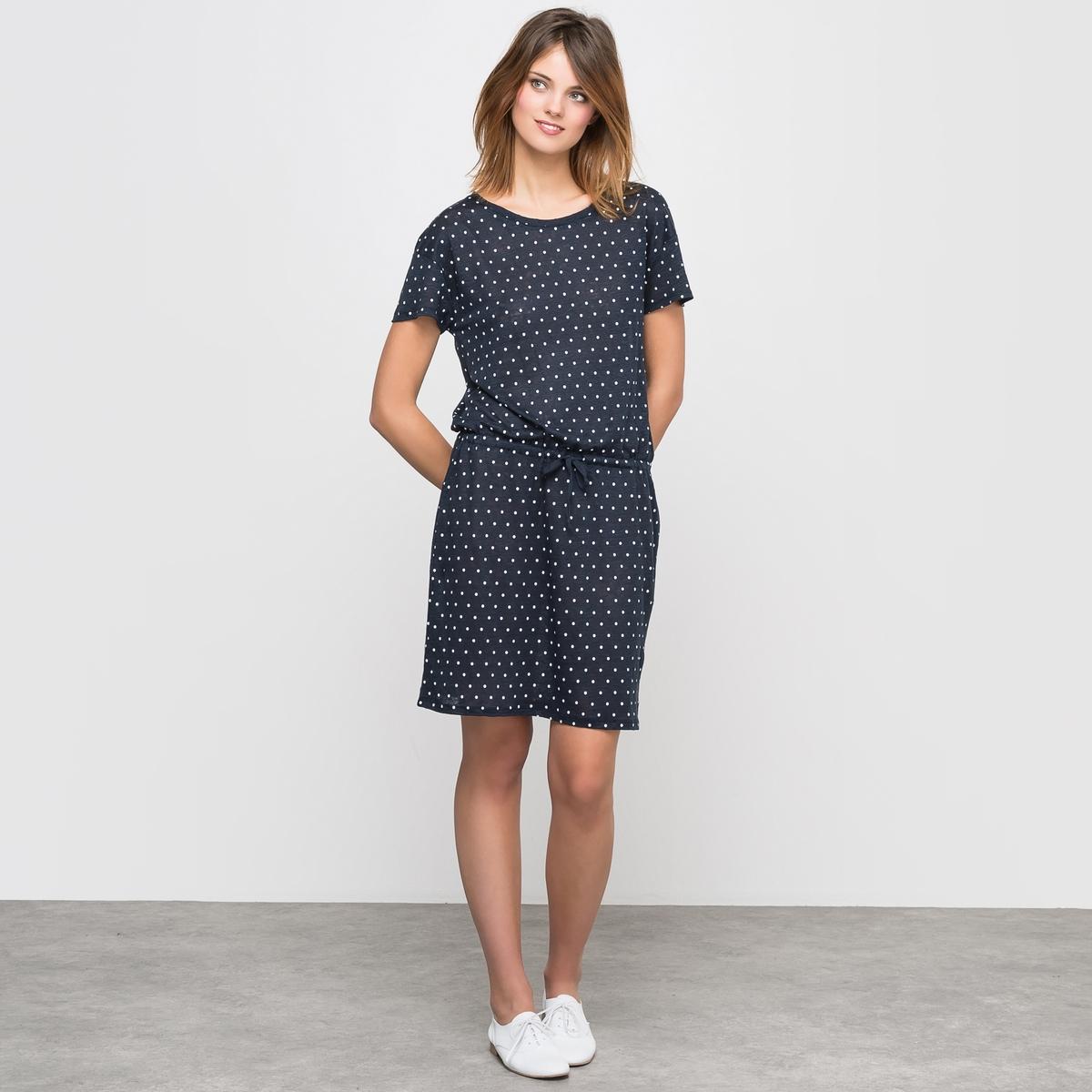 Платье трикотажное из льна с рисунком в горошек платье трикотажное с рисунком