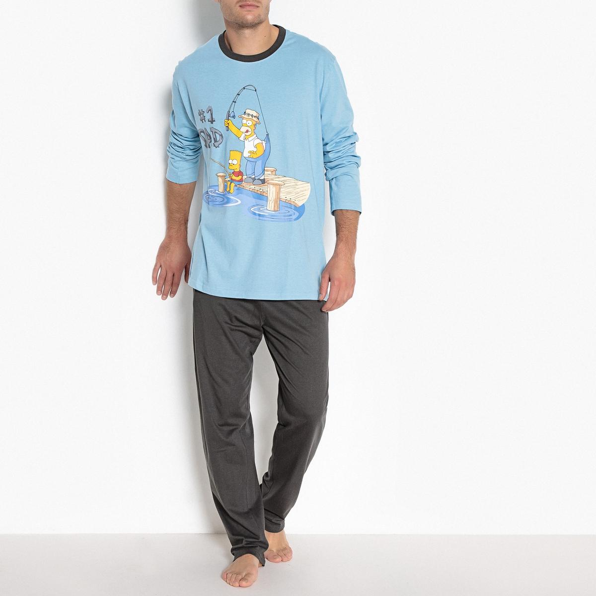 Пижама с длинными рукавами и рисункомОписание:Забавная пижама Simpsons с рисунком поднимет вам настроение с самого утра: комфортная и оригинальная!Состав и описание :Пижама с длинными рукавами и рисунком Simpsons. Брюки с эластичным поясом и прямым низом.Материал : 100% хлопок Марка : SimpsonsУход :Стирать с вещами подобного цвета при 30°.Гладить с изнаночной стороны.Машинная сушка запрещена.<br><br>Цвет: синий/темно-серый<br>Размер: S