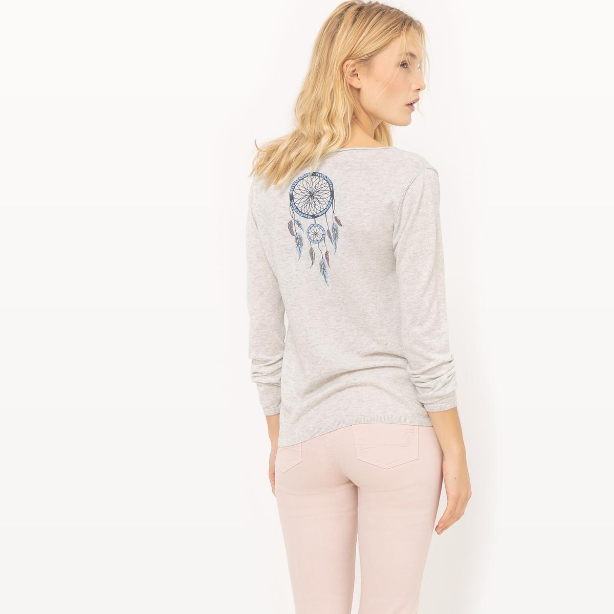 Пуловер из тонкого трикотажа с рисунком сзадиМатериал : 15% шерсти, 22% ацетата, 28% полиамида, 35% полиэстера Длина рукава : длинные рукава Форма воротника : круглый вырез с разрезом спереди Покрой пуловера : стандартный Рисунок : рисунок спереди<br><br>Цвет: экрю меланж<br>Размер: S