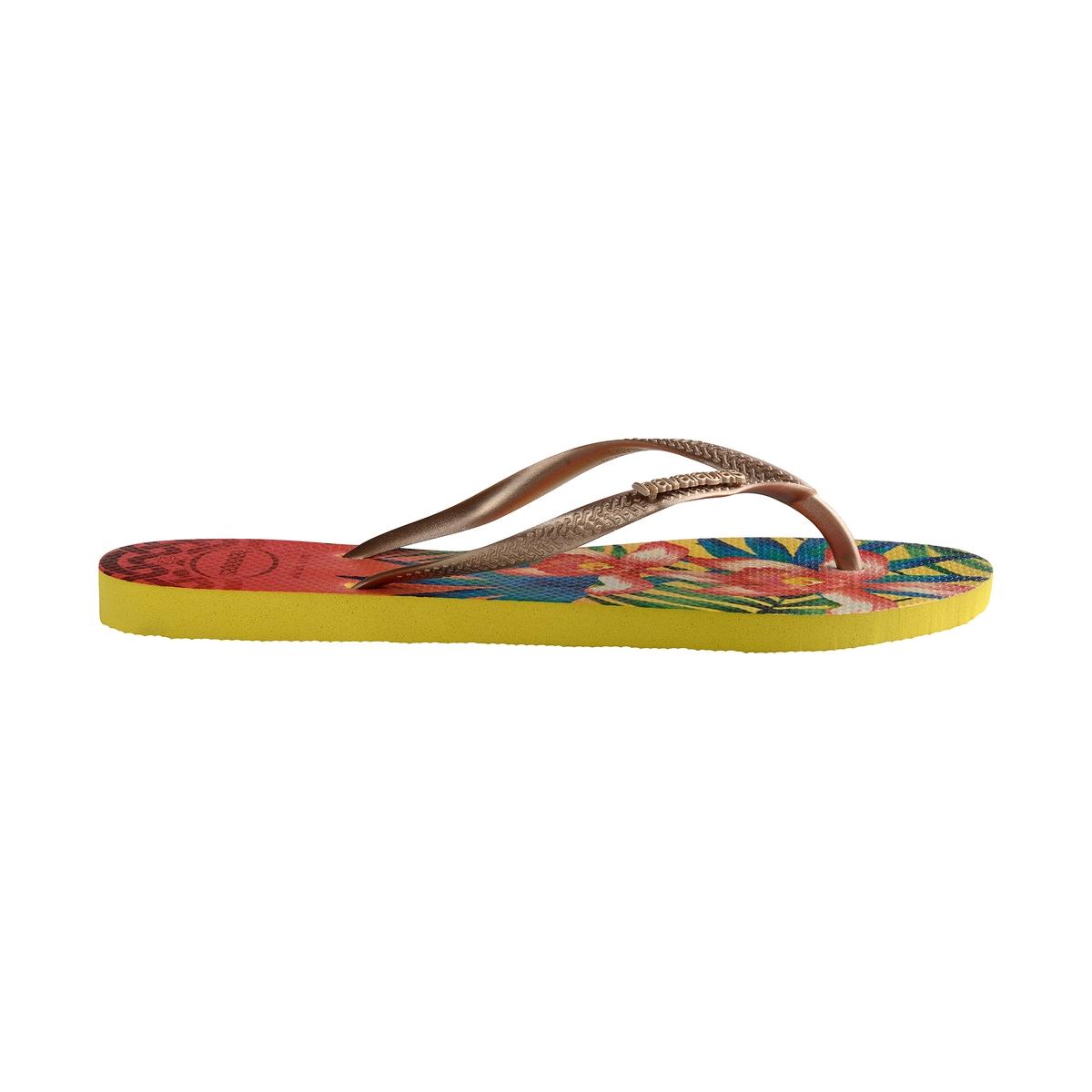 Вьетнамки Slim TropicalВерх : каучук   Стелька : каучук   Подошва : каучук   Форма каблука : плоский каблук   Мысок : открытый мысок   Застежка : без застежки<br><br>Цвет: рисунок/оранжевый<br>Размер: 41/42