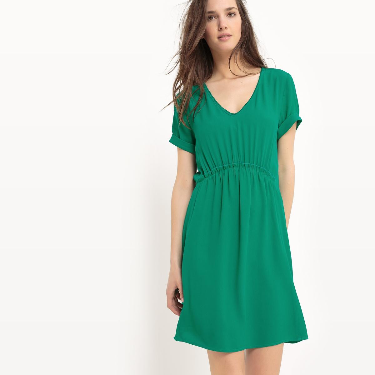 Платье эластичное с короткими рукавамиМатериал : 100% вискоза         Длина рукава : короткие рукава        Особенность пояса : Эластичный пояс        Форма воротника : V-образный вырез        Покрой платья : расклешенное платье        Рисунок : однотонная модель          Длина платья : до колен<br><br>Цвет: зеленый<br>Размер: L.S