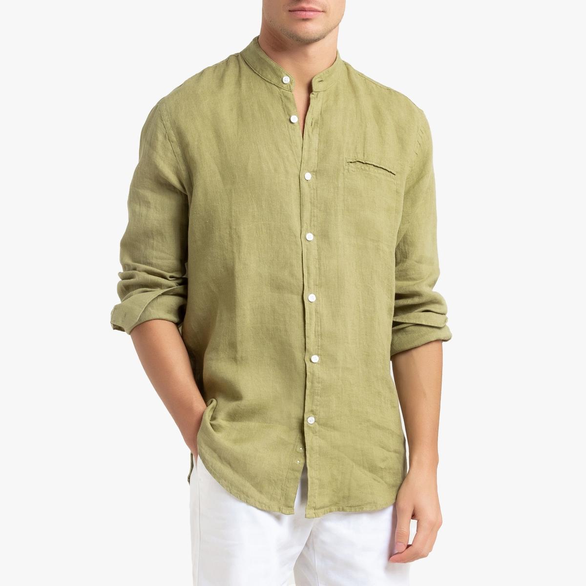 Camisa regular em linho, gola mao, Clément