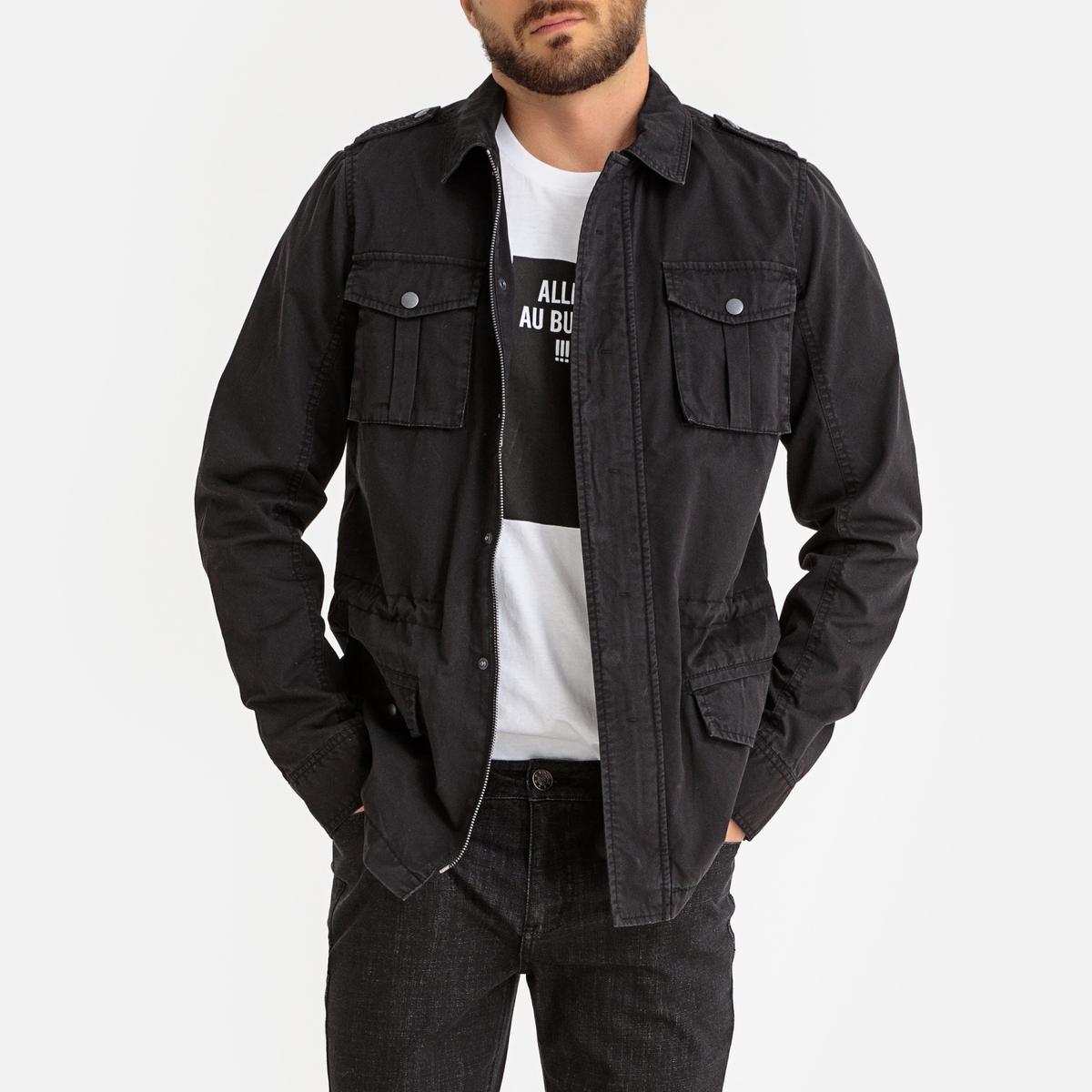 Куртка La Redoute В стиле милитари с карманами S черный шнурок кожаный на шею 09001з