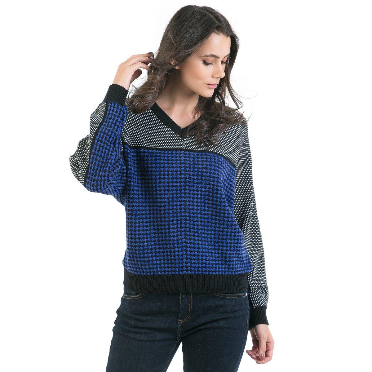 Pull en laine mélangée avec motif piqué bicolore
