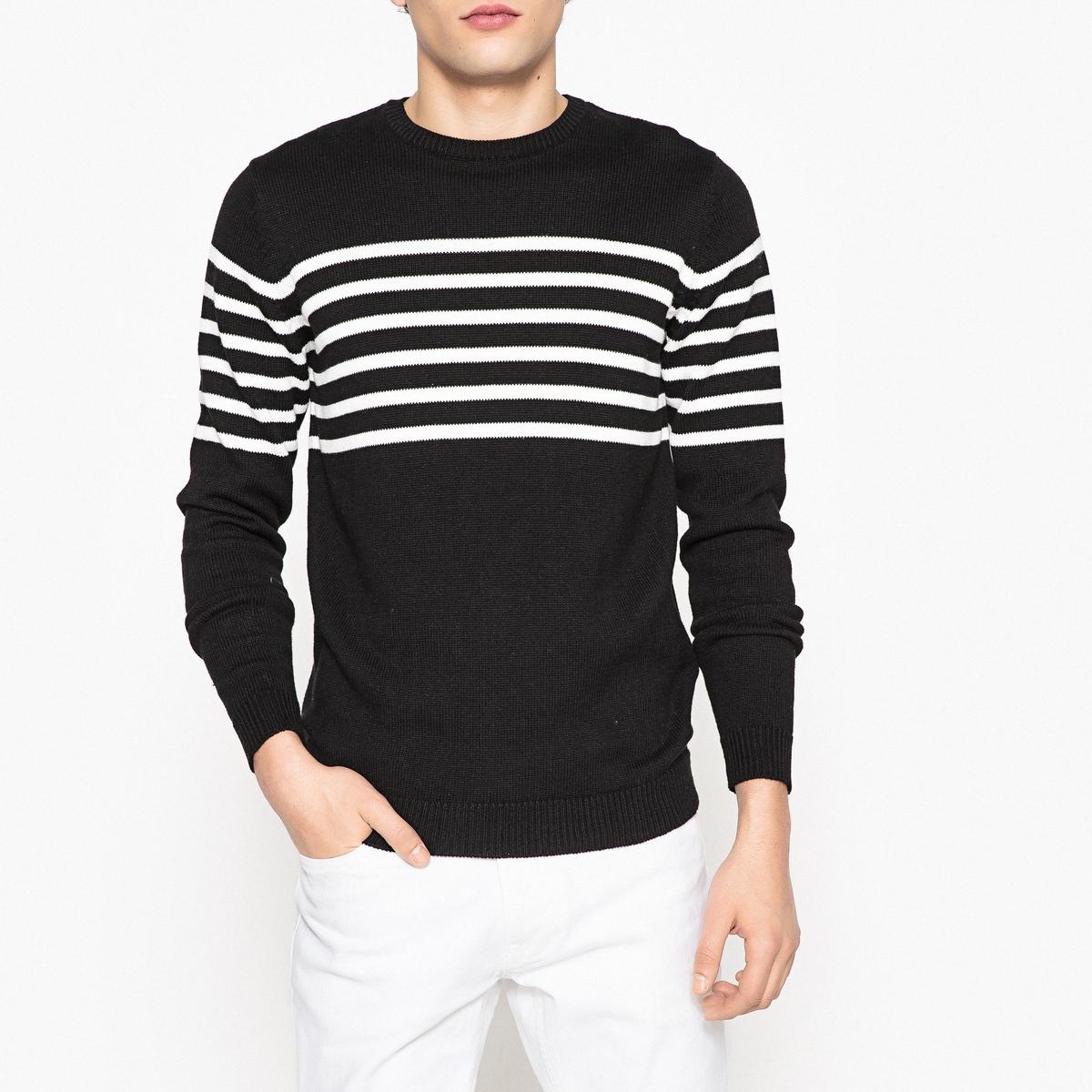 Sweter w paski z okrągłym dekoltem