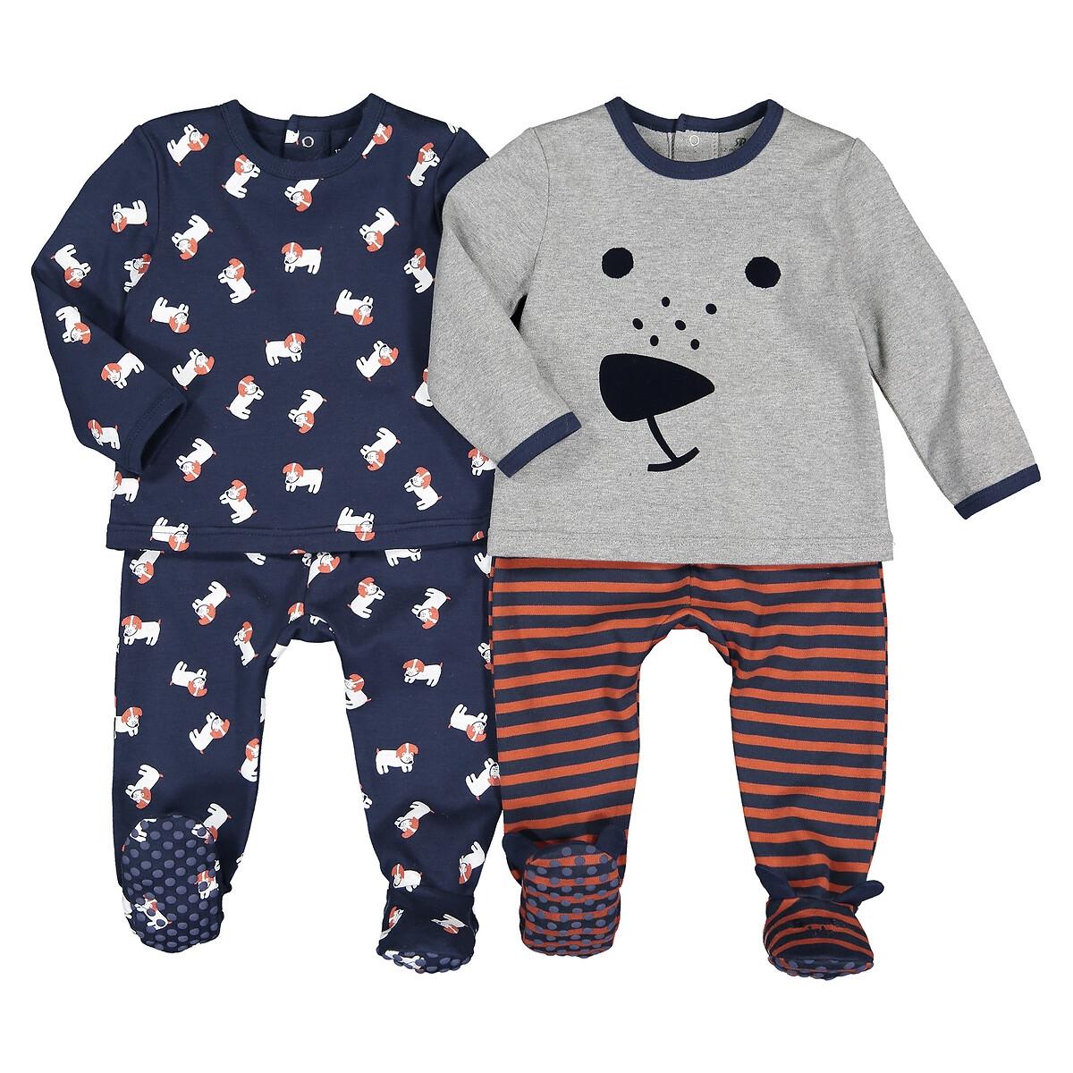 Комплект из 2х пижам раздельных LaRedoute Из хлопка 1 мес - 4 года 3 мес. - 60 см серый пижама laredoute с носочками из велюра 0 мес 3 года 3 мес 60 см серый
