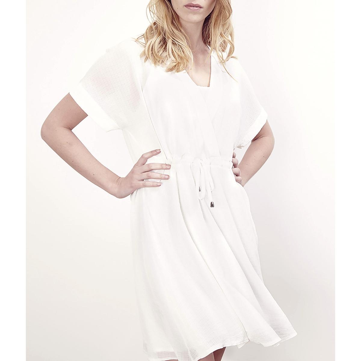 Платье с короткими рукавами RADIALПлатье RADIAL от LENNY B . Платье  на подкладке. Вырез с запахом . Короткие рукава. завязки на поясе .Состав и детали     Материал: 100% полиэстера.     Марка    LENNY B.<br><br>Цвет: черный,экрю<br>Размер: 2(M)