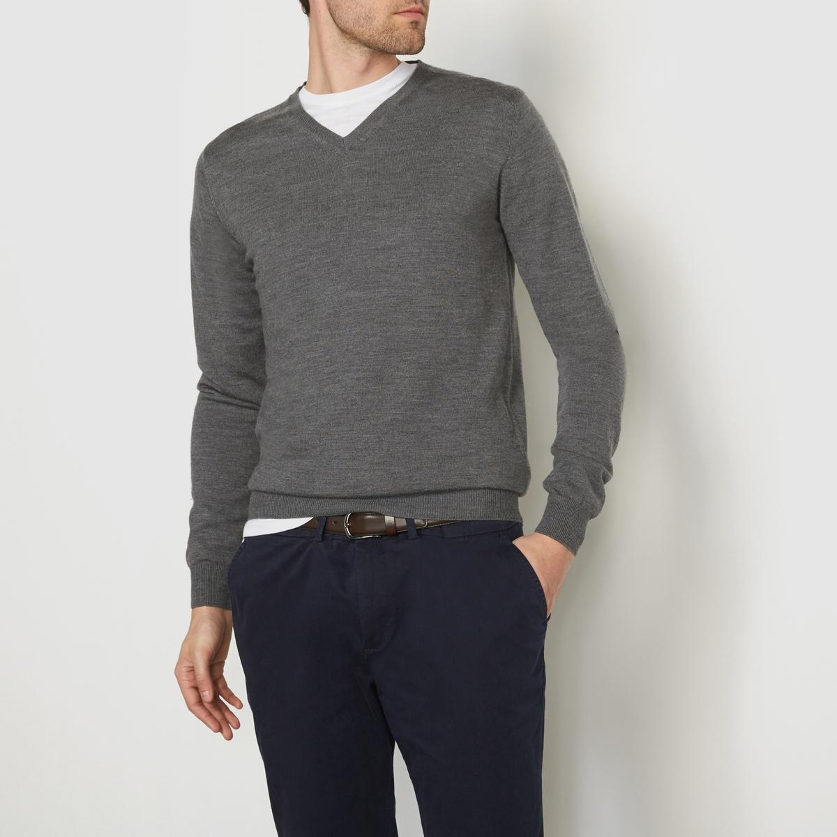 Пуловер с V-образным вырезом из шерсти мериноса
