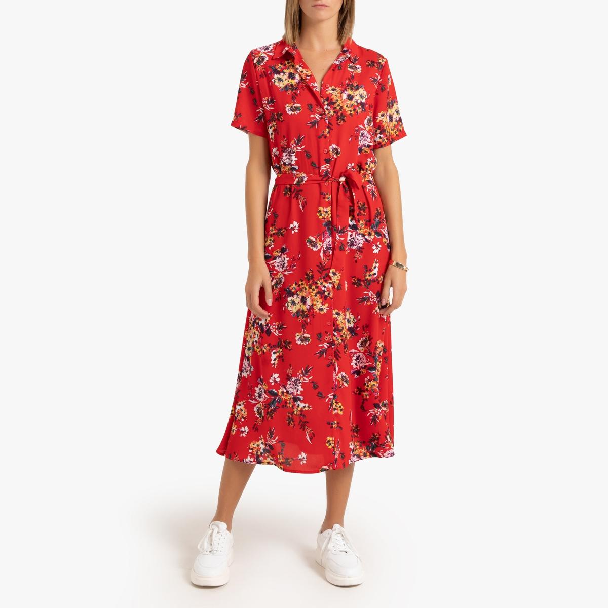 Платье-рубашка La Redoute Длинное с цветочным рисунком 34 (FR) - 40 (RUS) красный