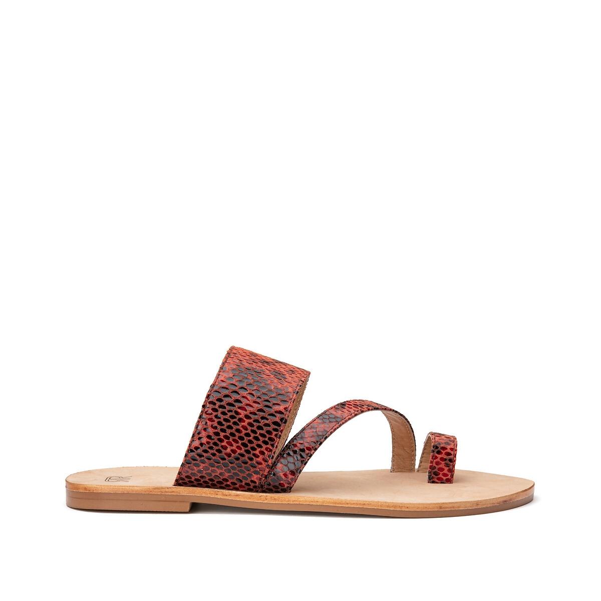 Туфли LaRedoute Без задника из кожи с питоновым принтом 40 оранжевый ботинки laredoute из кожи на широком каблуке с питоновым принтом 39 бежевый