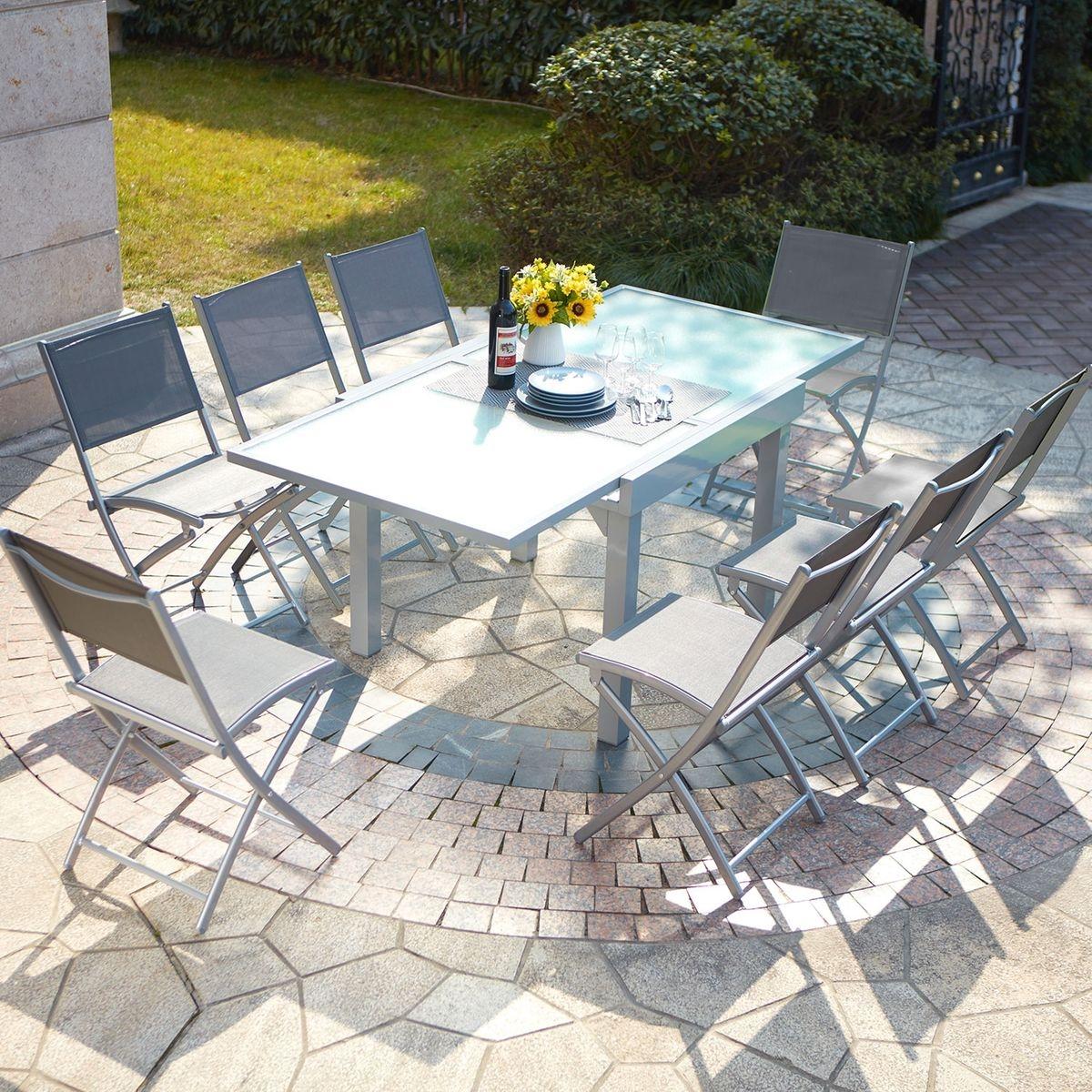 Molvina 8 : table de jardin extensible en aluminium 8 personnes + 8 ...