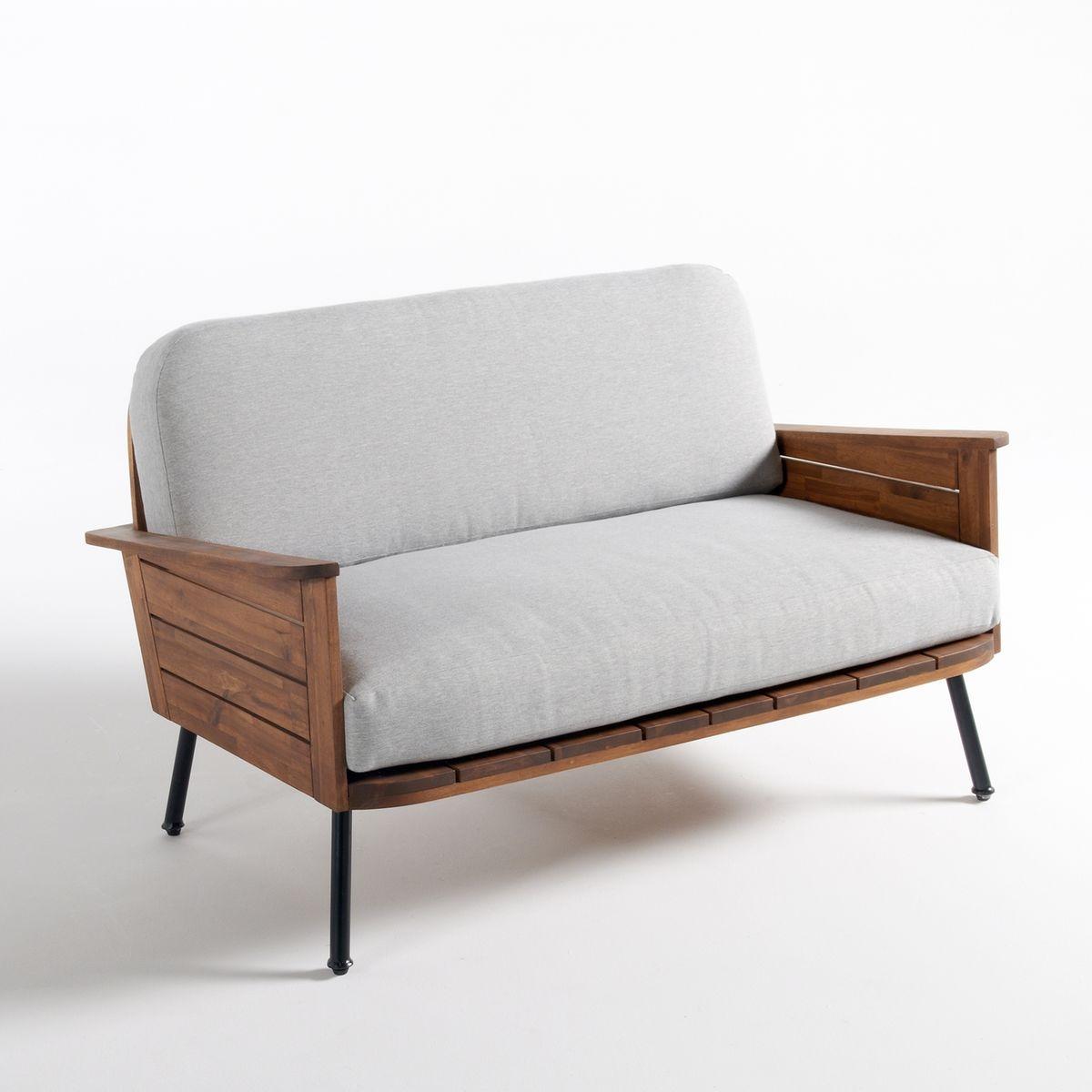 Canapé de jardin 2 places Noir Pas cher Relax