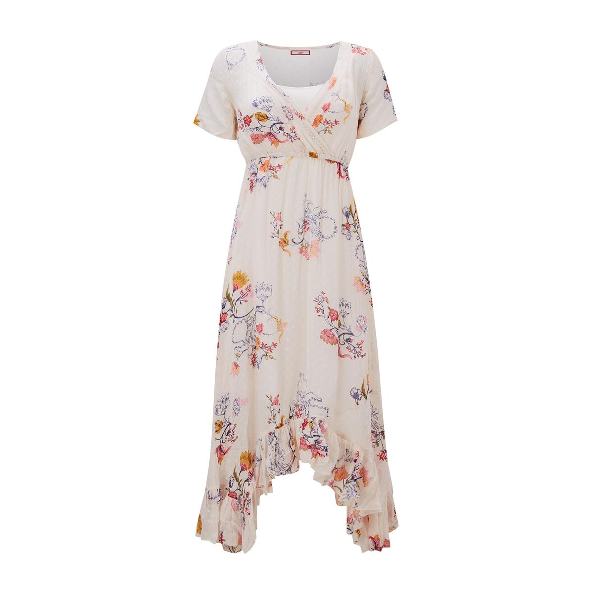 цена Платье La Redoute Расклешенное с рисунком и воланом по низу длиной до колен 38 (FR) - 44 (RUS) бежевый онлайн в 2017 году