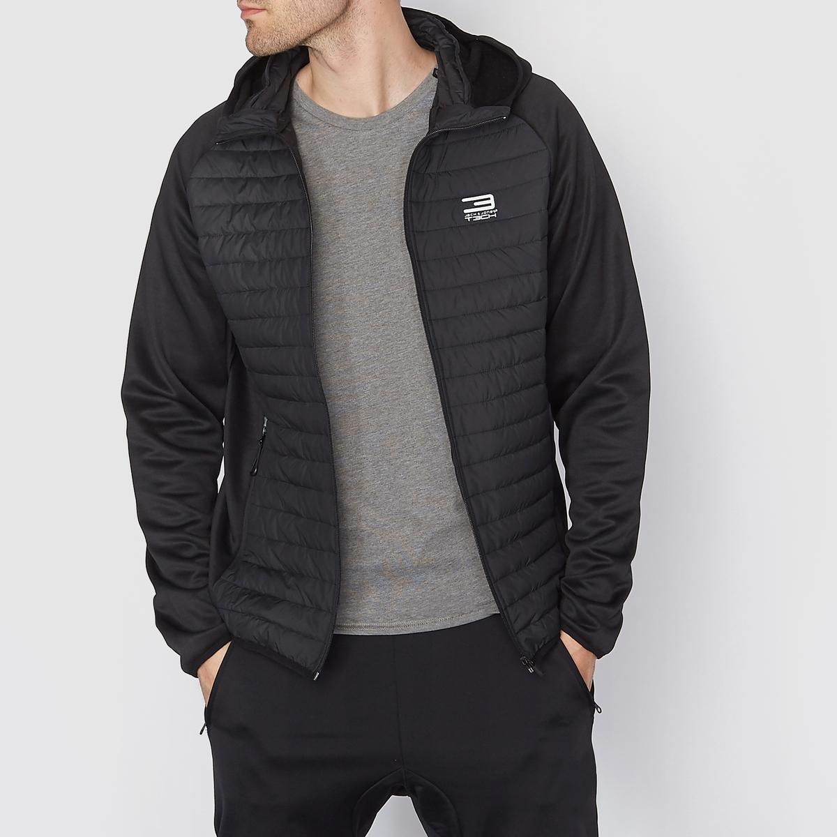 Куртка стеганая с капюшономТонкая стеганая куртка с капюшоном - JACK &amp; JONES. Прямой покрой, высокий воротник. Застежка на молнию . Рукава без стеганой подкладки. Детали из светоотражающей ткани. 2 кармана с застежкой на молнию.Состав и описаниеМатериал : Ткань с водоотталкивающей пропиткой 100% полиэстераМарка : JACK &amp; JONES<br><br>Цвет: черный<br>Размер: L