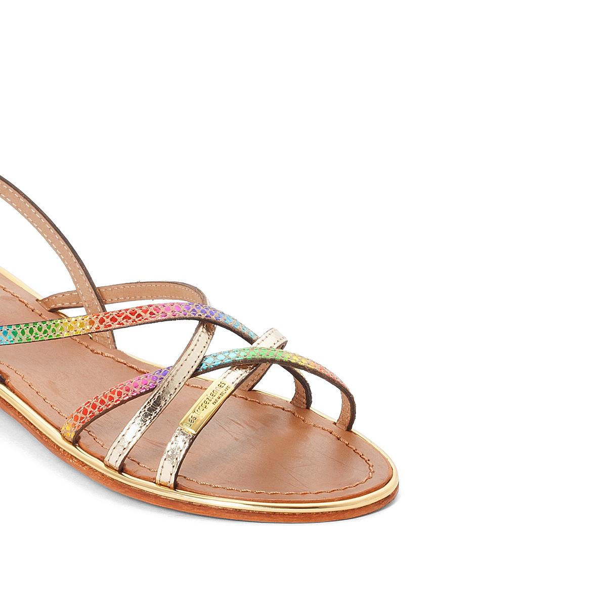 Босоножки кожаные BelleВерх : кожа   Подкладка : кожа   Стелька : кожа   Подошва : кожа   Высота каблука : плоский   Форма каблука : плоский   Мысок : открытый   Застежка : пряжка<br><br>Цвет: разноцветный