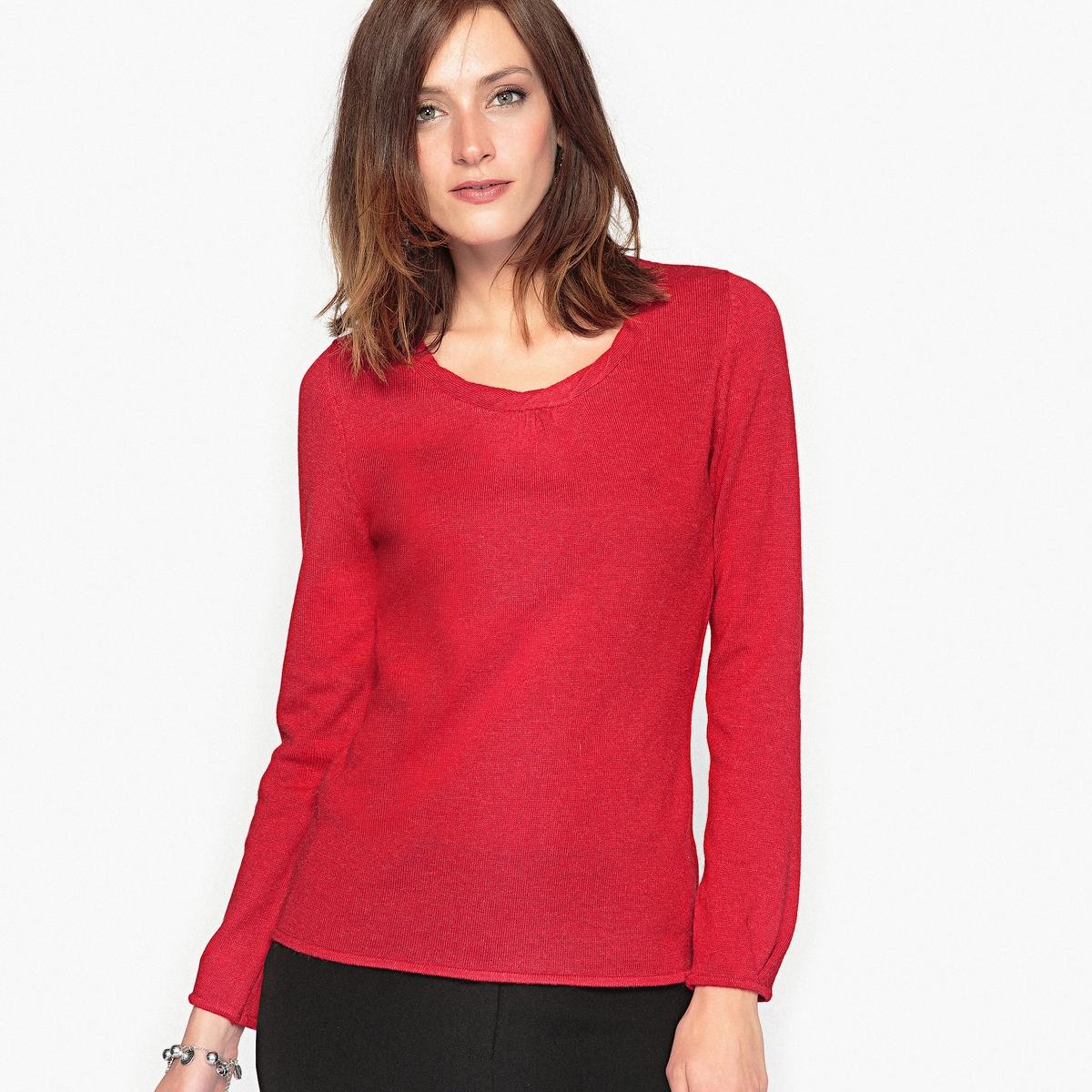 Пуловер с оригинальным вырезом из шерсти и альпаки