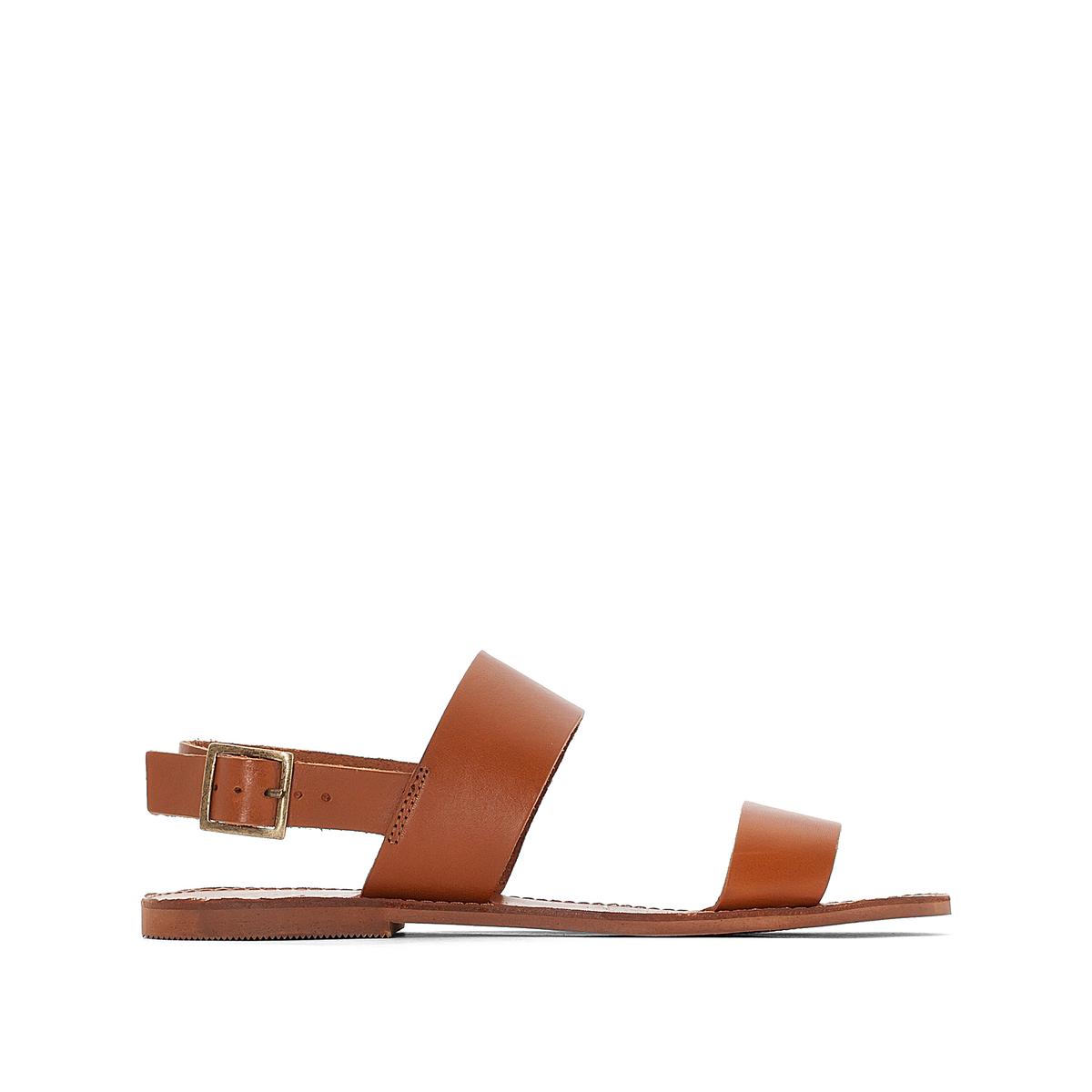Босоножки кожаные AoudaВерх : кожа   Подкладка : кожа   Стелька : кожа   Подошва : эластомер   Форма каблука : плоский каблук   Мысок : закругленный мысок   Застежка : пряжка<br><br>Цвет: коньячный,черный<br>Размер: 36.36