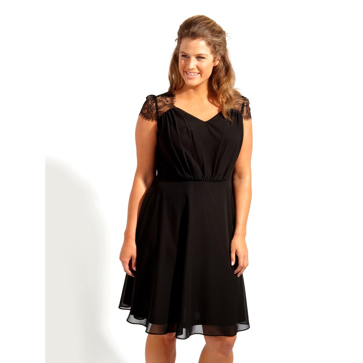 ПлатьеПлатье - KOKO BY KOKO. Красивое платье из прозрачного кружева сверху . 100% полиэстер<br><br>Цвет: черный