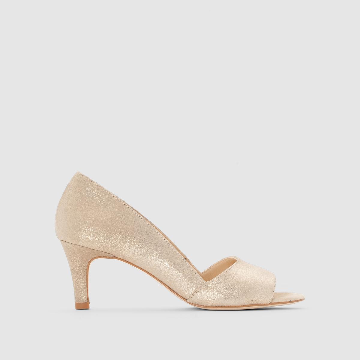 Туфли из ламинированной кожиПреимущества  : туфли на каблуке JONAK пленяют оригинальным внешним видом благодаря аутентичной и мягкой ламинированной коже<br><br>Цвет: Платиновый<br>Размер: 39.38