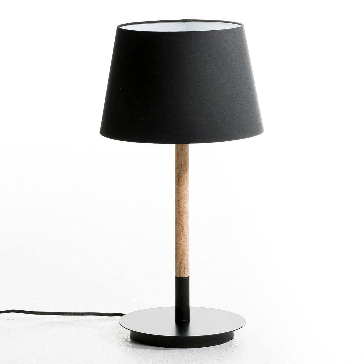 Лампа настольная StefanРоскошная настольная лампа из дуба и черного металла . Ножка из натурального дуба и металлический цоколь из черного металла (?22 см). Абажур из хлопковой ткани черного цвета ?28 см . высокий. 53 см. Патрон E27 для флюокомпактной лампочки 20W (не входит в комплект)  . Этот светильник совместим с лампочками    энергетического класса   A .Это изделие может подойти для детской комнаты ( с 14 лет) в зависимости от действующих норм  .<br><br>Цвет: дуб/белый,дуб/черный