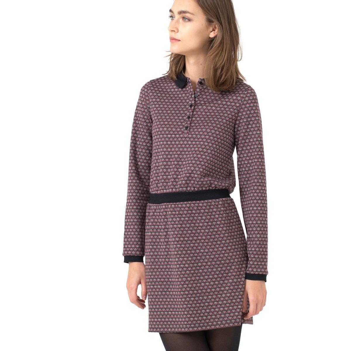 Платье из жаккардового трикотажа с воротником-полоПлатье, 97% полиэстера, 3% эластана.<br><br>Цвет: жакард<br>Размер: 42/44 (FR) - 48/50 (RUS).38/40 (FR) - 44/46 (RUS)