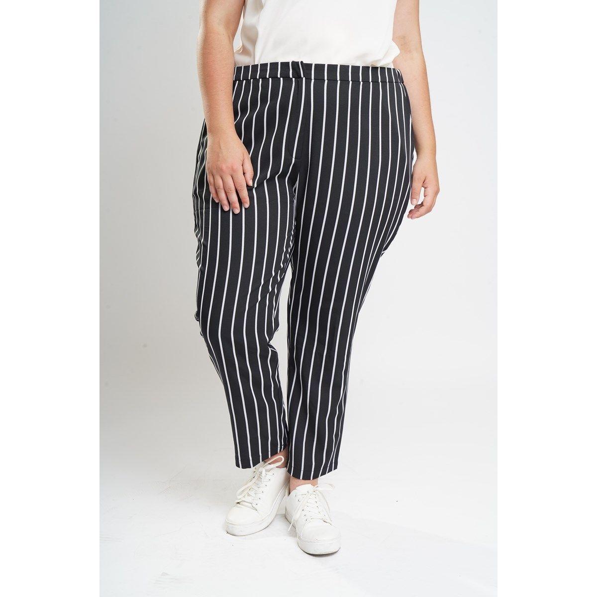 Pantalon à rayures grande taille