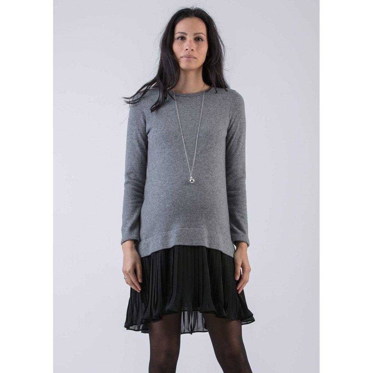 Robe de grossesse en laine avec jupe plissée