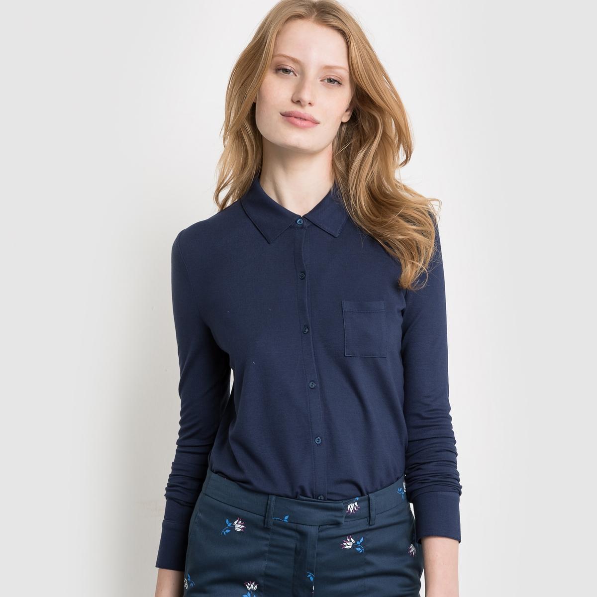 Рубашка из струящегося трикотажаСостав и описаниеМатериал : 97% вискозы, 3% эластана длина : 63 смУход  Машинная стирка при 30 °С<br><br>Цвет: слоновая кость<br>Размер: 42/44 (FR) - 48/50 (RUS)