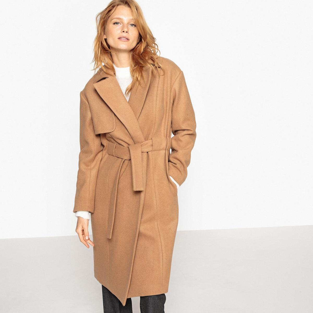 Пальто с поясом пальто двухцветное с поясом 70% шерсти