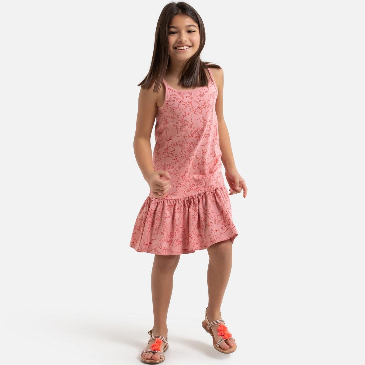 цена Платье La Redoute Расклешенное на тонких бретелях с рисунком 8 лет - 126 см розовый онлайн в 2017 году