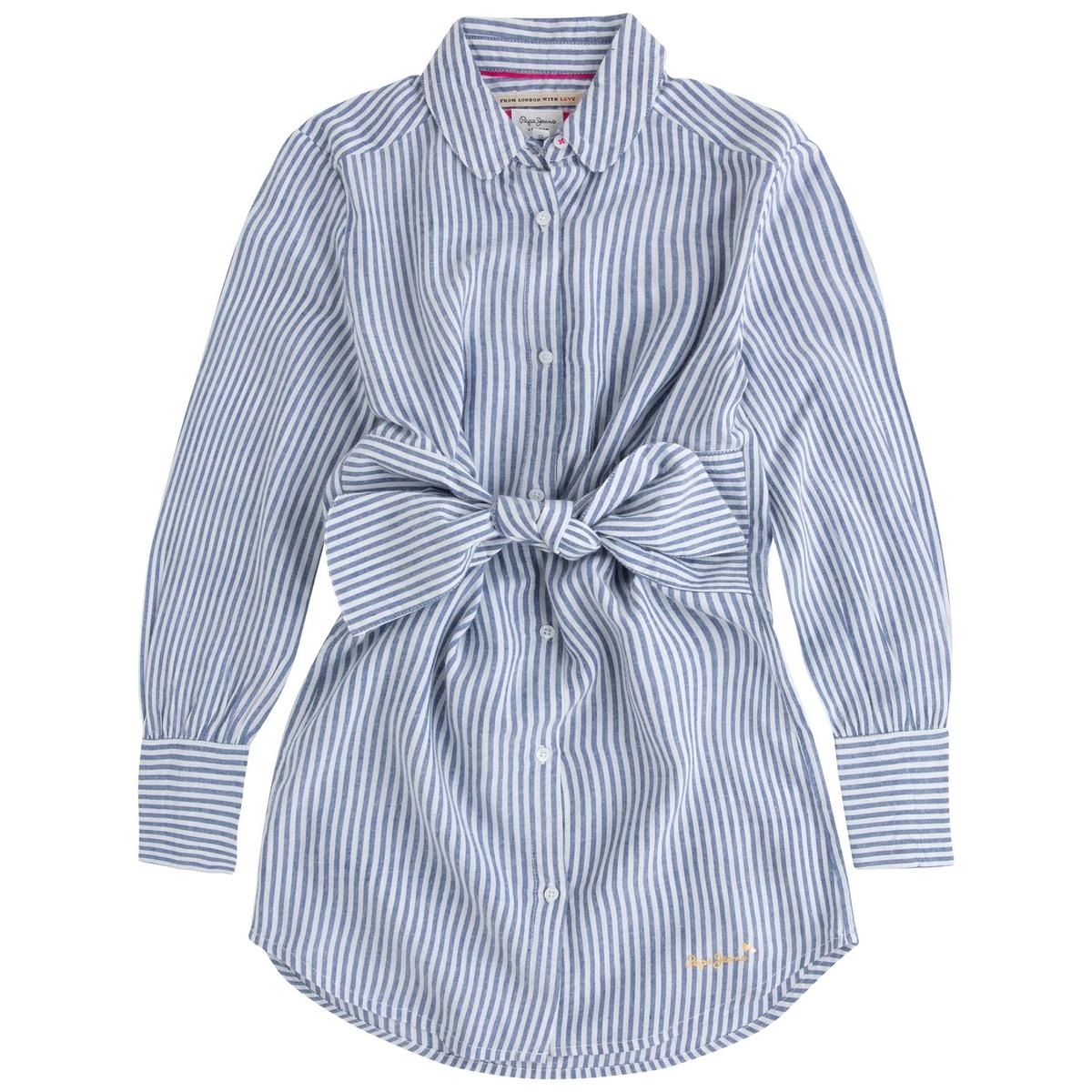 Платье-рубашка, 8-16 летОписаниеДетали •  Форма : прямая •  Длина миди, 3/4 •  Длинные рукава    •  Воротник-поло, рубашечный •  Рисунок в полоскуСостав и уход •  100% вискоза •  Следуйте советам по уходу, указанным на этикетке   •  Платье-рубашка с вшитым поясом и завязками •  Широкие манжеты в полоску контрастного цвета •  Отложной воротник •  Застежка на пуговицы спереди •  Широкий покрой<br><br>Цвет: синяя полоска